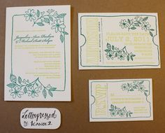 letterpress floral wedding invitations