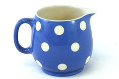 Retro Polka Dots...TG Green Blue Domino England Ceramic Blue and White Polka Dot Creamer