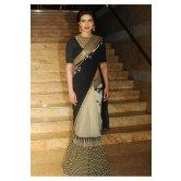 priyanka-chopra-black-and-cream-half-and-half-saree
