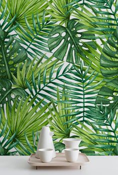 Watercolor Tropical Palm Leaves Wallpaper, Tropical Removable Wallpaper, Palm Leaves Wall Mural, 278