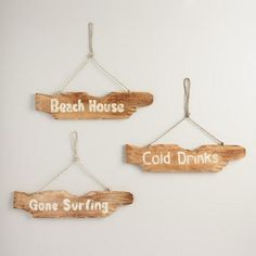 One of my favorite discoveries at WorldMarket.com: Driftwood Beach Signs Set of 3