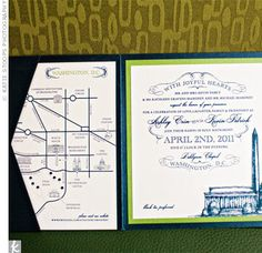 These custom invitations featured the DC skyline paired with a variety of fonts for a vintage-inspired look.