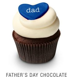 Georgetown Cupcake | DC Cupcakes | Menu | Valrhona chocolate cupcake topped with vanilla buttercream frosting and blue DAD fondant