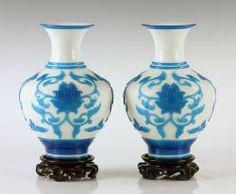 3057 - Pr. Antique Chinese Carved Peking Glass Vases Antiques and Asian Art: Annual Thanksgiving Auction - Day One | Official Kaminski Auctions
