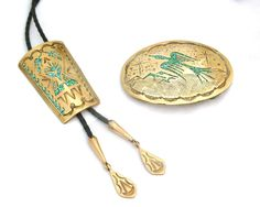 Vintage George Nakai Navajo Water Bird Bolo Tie and Belt Buckle Set in Bronze and Turquoise