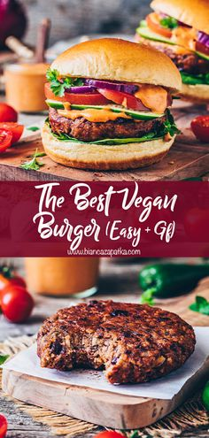 This amazing vegan burger recipe is easy to make with simple basic ingredients and the best veggie bean patty, that's gluten-free, soy-free & grillable! Vegan Burger Recipe Easy, Vegan Dinner Recipes, Vegan Dinners, Cooking Recipes, Healthy Recipes, Recipe For Veggie Burgers, Veggie Meat Recipes, Grilling Recipes, Amazing Vegetarian Recipes