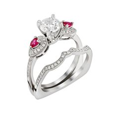 Valentine Day Special Collection - 18 Kt White gold diamond and ruby wedding ring