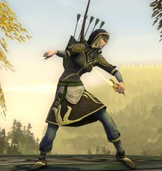 A hooded scout's outfit, in soft greys, greens, and blues, for an Elvish sentinel of the Golden Wood.