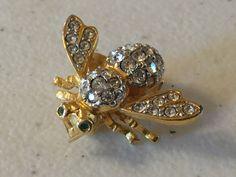 Joan Rivers Vintage Bumble Bee Rhinestone Brooch Lot 981 by OzarkFarmGirls on Etsy