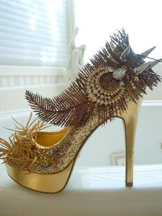 High Heel Platform Spiked Women Shoes Gold size 8...Holiday Limited Edition...A SpikesByG Design