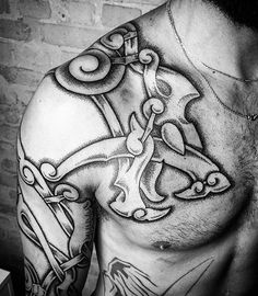 A section of yesterday and todays project between myself and @blackhandnomad. More to be done in Barcelona early next year :) #viking #vikingtattoo #norse #nordic #nordictattoo #dotwork #meatshoptattoo