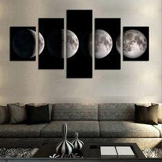 5 Piece(No Frame)Moon Modern Home Wall Decor Canvas Picture Art HD Print