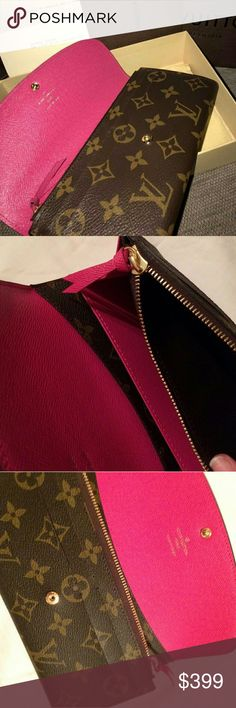 Louis Vuitton Emilie Hot Pink I'm selling my Authentic Louis Vuitton Emilie Rose. It's in great condition. Comes with Box, Dustbag and receipt. Purchased from LV Storefront. Will sell through Venmo for $260. Ask for more photos if you want them I'll send to you. Louis Vuitton Bags Wallets