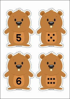 Groundhog Day Preschool Centers. Numeral and dots matching activity.
