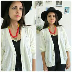 Vintage white cable knit cardigan sweater/Button by girlsaboutcity