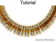 Beaded Bugle Fire Polished Savanna Necklace Beading Pattern Tutorial Instructions Directions by Cara Landry with Simple Bead Patterns