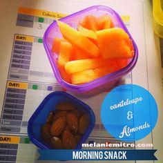 21 Day fix Snack Ideas, Almonds and melon