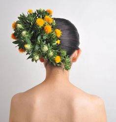 "extraordinary floral ""hairdressing"" arrangements from Japanese artist Takaya Hanayuishi."