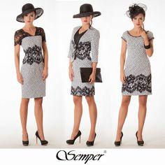 #semper #stylish #fashion #hat #elegantdress #black&white #polkadots