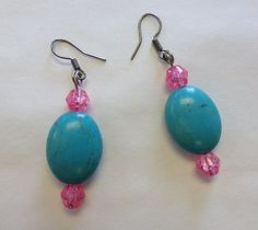 Cracked Turquoise with Hot Pink Earrings by StarBoundWestern Pink Earrings, Drop Earrings, Teal, Turquoise, Hot Pink, Dangles, Trending Outfits, Unique Jewelry, Handmade Gifts