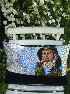 Fisherman on a pillow. Redesign.  Upcycled. www.genbrugsdesign.dk