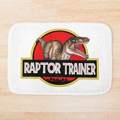 Soft, printed microfiber bath mat with foam cushion and a non-slip base. Available in multiple sizes. Machine washable. Jurassic park logo theme badge with the big one Lightning Bug Crafts, Jurassic Park Logo, Bath Mat, Badge, Cushion, Printed, Artwork, Patches, Teaching