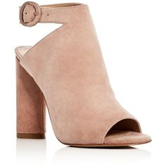 Kendall and Kylie Gigi Suede Peep Toe High Heel Booties ($120) ❤ liked on Polyvore featuring shoes, boots, ankle booties, heels, natural, heeled boots, peep-toe booties, peep-toe boots, high heel boots and suede peep toe booties