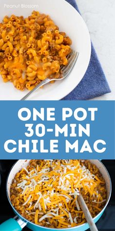 Easy one-pot chipotle chile mac is done in less than 30 minutes. This is the perfect busy weeknight dinner for families and a huge hit with kids. Cheesy taco sauce and ground beef with tender pasta is cooked all in one skillet. One Pot Dinners, Fast Dinners, Chipotle Chile, Mac Recipe, Sunday Dinner Recipes, Homemade Hamburgers, Taco Sauce, Easy Meals For Kids, Family Meals