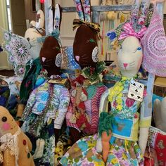 This is a bit of a better picture of Sasha's rabbits....each one is unique being carefully handcrafted from vintage and repurposed fabrics.....these are about 2ft tall. Her stall is always the brightest and most colourful at any fair I've been to.... Sasha doesn't sell online so it's only from going to fairs that you're able to buy her very special creatures and thingy ma jigs....... #thecolourfulworldofsasha #handmadeandunique #norwichmakersandcrafters Softies, Rabbits, Repurposed, Vintage Inspired, Cool Pictures, Creatures, Dolls, Friends, Unique