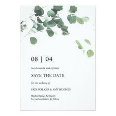 Watercolor leaves wedding save the date card