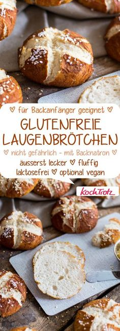 gluten-free lye rolls & lactose free & on request vegan & simple recipe free lye bun # Sans Gluten Sans Lactose, Lactose Free Diet, Vegan Recipes Easy, Gluten Free Recipes, Baking Recipes, Vegetarian Recipes, Cake Vegan, Vegan Bread, Gluten Free Baking