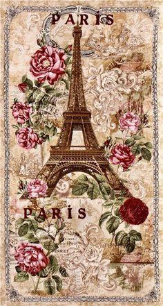 Vintage Paris Eiffel Tower Fabric with Beige Fabric by Timeless Treasures Vintage Paris, Vintage Abbildungen, Vintage Postcards, Vintage Makeup, Decoupage Vintage, Decoupage Paper, Paris Pictures, Vintage Pictures, Vintage Images