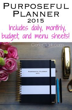 Purposeful Planner 2015 With Daily, Monthly, Budget, Menu sheets and much more! Day planner, agenda, life planner, calendar, black and white stripes, gold coil binding