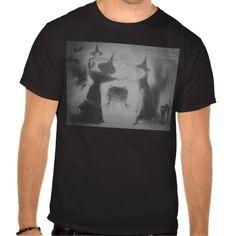 Monochrome Witch Bat Night Cauldron Black Cat T Shirt