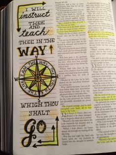 Psalm 32: 8 The WAY which thou shalt GO. Scripture Journal. Bible doodling art.