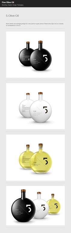 very creative ideas here, as a viewer I find myself looking at the a considerable amount of times because they are so unbelievably simple yet work so well. Whitespace in particular used very nicely Olive Oil Packaging, Bottle Packaging, Brand Packaging, Packaging Design, Design Squad, Olive Oil Bottles, Bottle Design, Label Design, Olives