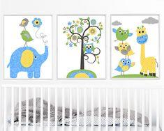Owl Decor Giraffe Nursery, Baby Boy Nursery Art Nursery Wall Art Kids Room Decor Kids Art set of 3 Elephant Bird Blue Gray Yellow