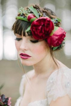 ♥  #floralcrown #wedding hairstyle with #flowers.  Order your fresh #bouquet here:  http://www.bloomsybox.com/