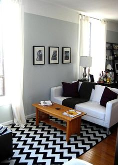 Black and White living room with a chevron rug