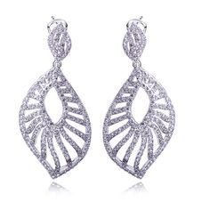 New Look Design Women Elegant Drop Earrings With Clear Stone Bridal Party Earring Cubic Zirconia Platinum Plated Fashion Jewelry