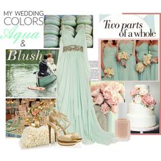 """""""My Wedding Colors: Aqua and Blush"""" by sportsonista on Polyvore"""