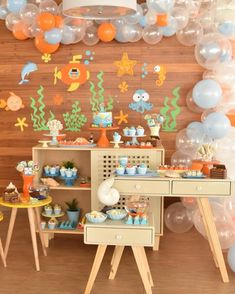 ideas for all types of festivities 1 Year Old Birthday Party, Baby Boy 1st Birthday Party, Little Mermaid Birthday, Sailor Birthday, Unisex Baby Shower, Baby Boy Shower, Party Decoration, Birthday Decorations, Under The Sea Party