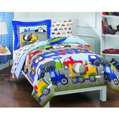 Amazon.com - Trucks Tractors Cars Boys Blue and Red 5 Piece Twin Comforter Set