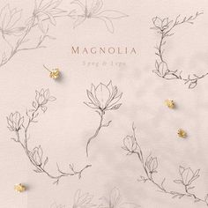 Floral Illustrations, Botanical Illustration, Illustration Art, Art Clipart, Magnolia Tattoo, Arte Floral, Elements Of Art, Art Logo, Tattoo Ideas