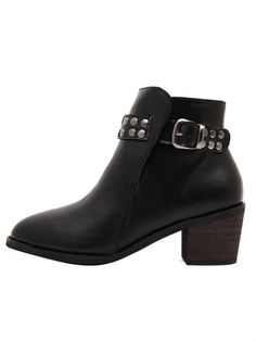 Punk Rivet Buckle Thick Heel Short Boots Thick Heels, Short Boots, Punk, Booty, Ankle, Stuff To Buy, Shoes, Fashion, Low Boots