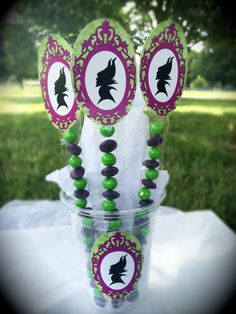 Maleficent Birthday Party Candy Stick Treats by WizysPartyShop, $11.50