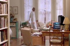 In the film 'You've Got Mail' Kathleen Kelly's Upper West Side apartment living room, sporting elegant bay windows with built-in window seats.