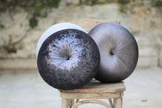 "Lead Grey velvet Round pillow 16"" hand made pillow,circular pillow,round throw pillow,velvet pillow"