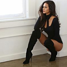 Hot young dark-haired model Sophia Miacova in knee-high boots. Sophia Miacova, Sexy Stiefel, Sexy Boots, High Boots, Short Boots, Black Bodysuit, Gorgeous Women, Ideias Fashion, Sexy Women