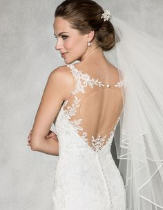 Fall in love all over again with this classic figure flattering fishtail. Soft tulle has been delicately embellished with lace and an open illusion back adds the perfect contemporary finish. Available in sizes 8 to Open Back Wedding Dress, Lace Wedding Dress, Wedding Gowns, Curvy Women Fashion, Fashion Tips For Women, Women's Fashion Dresses, Fashion Clothes, White Lace, Beautiful Dresses